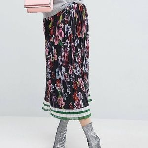ASOS Pleated Floral Midi Skirt with Border Stripe